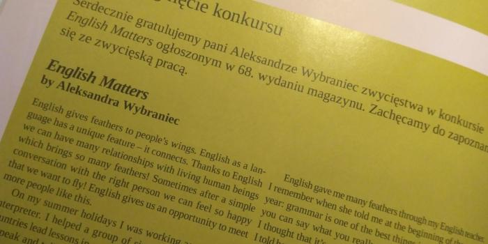 Ola Wybraniec laureatką konkursu ogólnopolskiego czasopisma English Matters